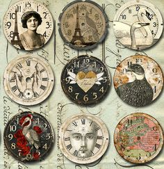 INSTANT Download - 30 VINTAGE Art Watch CLOCK Faces with Animals & More-  Printable Digital Sheet