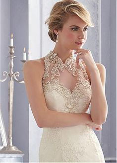 Charming Alencon lace High Collar Neckline Natural Waistline Mermaid Wedding Dress With Embroidered Beadings