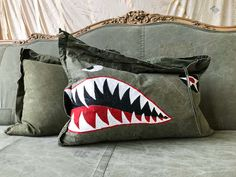 Your place to buy and sell all things handmade Shark Mouth, Fighter Pilot, Nose Art, Teeth, Pup, Pillows, Bags, Etsy, Volkswagen