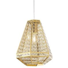 Introduce art deco design into your home with the gold glamour and chevron style of the Jager Pendant Light, Small from Rouge Living.