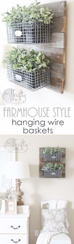 Outstanding Best Country Decor Ideas  Farmhouse Style Hanging Wire Baskets  Rustic Farmhouse Decor Tutorials and Easy Vintage Shabby Chic Home Decor for Kitchen Living Room and Bathroom  Creativ ..