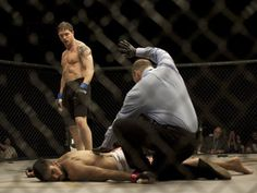 Tom Hardy in Warrior.   When he knocks them out and runs out of the cage...good stuff.