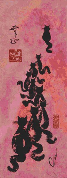 Large Cross Stitch Kit Cat Procession By Carol Van by GeckoRouge, #CrossStitch #CatCraft