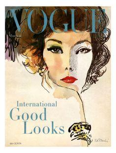 Vintage Vogue Cover Illustration- March 1958 Giclee Print by René R. Bouché at Art.com