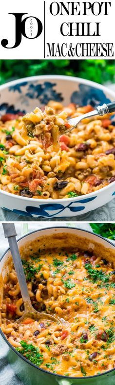 This One Pot Chili Mac and Cheese combines two great comfort foods all in one! Delicious and hearty, quick and comforting, perfect dinner for back to school and ready in under 30 minutes. (all day crockpot mac and cheese) Casserole Recipes, Pasta Recipes, Dinner Recipes, Cooking Recipes, Healthy Recipes, Healthy Food, Dinner Ideas, Skinny Recipes, Chili Recipes