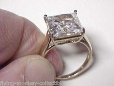 #Priceabate Dramatic 10K Gold Ring With 5 Carat Cubic Zirconia CZ - 10 KT Yellow Gold - Buy This Item Now For Only: $165.0