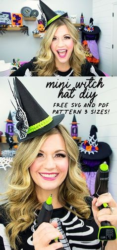 This mini hat template comes in 3 mini sizes to give you options to make the perfect mini hat! Free PDF or SVG file with step by step instructions. Perfect for Halloween DIY fun! #witchhatDIY #witchhatpattern #witchhatdiyfelt #miniwitchhatdiy #miniwitchhatheadband Halloween Sewing, Halloween Tutorial, Halloween Projects, Diy Halloween Decorations, Cute Halloween, Halloween Ideas, Halloween Costumes, Diy Projects, Diy Hat