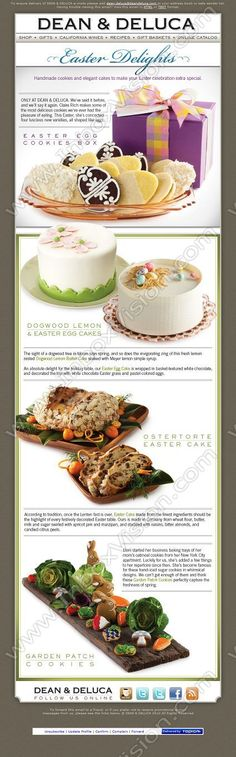 Company:   Dean & DeLuca Incorporated   Subject:      Easter Delights At Dean & DeLuca                INBOXVISION is a global database and email gallery of 1.5 million B2C and B2B promotional emails and newsletter templates, providing email design ideas and email marketing intelligence http://www.inboxvision.com/blog