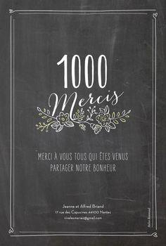 Exprimez votre gratitude envers vos proches avec l'esprit tendance et bucolique de la carte de remerciement mariage Ardoise. Vos convives pourront ainsi se ...