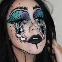aesthetic makeup full face i couldnt get a good fu - aestheticmakeup Fx Makeup, Makeup Goals, Makeup Inspo, Makeup Inspiration, Beauty Makeup, Face Paint Makeup, Crazy Makeup, Cute Makeup, Looks Instagram