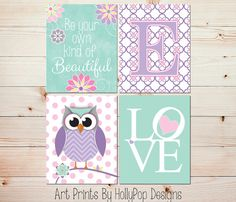 Girls Room Wall Decor-Baby Girl Nursery-Purple Mint Pink-Whimsical Owl Nursery-Floral Wall Decor-Kids Playroom Wall Art-Be Beautiful-#0744 on Etsy, $43.72 AUD