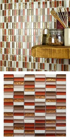 A red / bronze natural stone / glass mosaic on a mesh netting. Individual tile size is Kitchen Walls, Mesh Netting, Splashback, Glass Mosaic Tiles, Autumn Theme, Natural Stones, Tile Floor, Marble, Copper