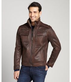 Brown Faux Leather Bomber Jacket
