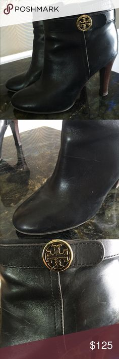 Tory Burch black leather booties Worn only handful of times so in great condition! Slight wear on soles which can be seen in the picture, but no scuff or scratches. Soft but structured with a strap around ankle with gold logo. Tory Burch Shoes Ankle Boots & Booties