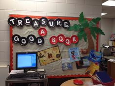 Good for library or book fair Pirate themed library/reading bulletin board Pirate Bulletin Boards, Reading Bulletin Boards, Classroom Bulletin Boards, Classroom Themes, Preschool Bulletin, Classroom Organization, Library Themes, Library Displays, Library Ideas