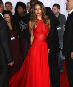 Refinery29: 10 Looks We Loved At Last Night's Grammys- beautiful red gown on Rihanna!