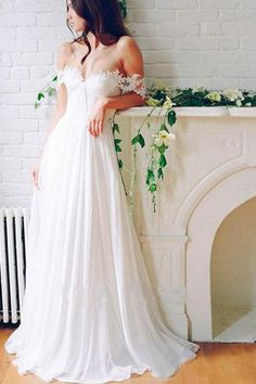 A Line Chiffon Sweetheart Lace Off the Shoulder Beach Wedding Dresses with  Pleats PW276 bae8621afc56