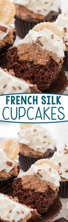 French Silk Cupcakes - these easy chocolate cupcakes are filled with an eggless french silk filling and topped with whipped cream! EVERYONE loved these cupcakes!
