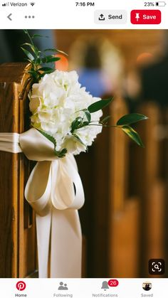 church wedding Double face satin bows dressed with white hydrangea and italian ruscus adorn church pews to add the perfect subtle touch to the church. Wedding Pew Decorations, Wedding Pews, Wedding Church, Church Decorations, Wedding Ceremony Flowers, Floral Wedding, Wedding Bouquets, Trendy Wedding, Church Pew Flowers