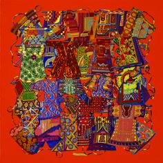 Voyage en Etoffes, Carré en twill de soie, roulotté à la main (90 x 90 cm). De Annie Faivre. www.lamaisondescarres.com