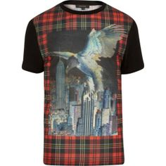 Black tartan eagle print t-shirt - print t-shirts - t-shirts / vests - men