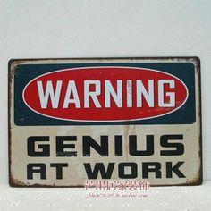 Funny-Warning-Door-Sign-Tin-Metal-Poster-Home-Dormitory-Decor-GENIUS-AT-WORK