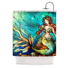Serene Siren Little Mermaid Under the Sea Fleece Shower Curtain Mandie Manzano Kess Inhouse on Etsy, $79.00