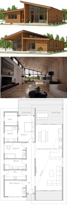 New House Plans Modern Small Living Rooms 68 Ideas House Plans One Story, Best House Plans, Sims House Plans, One Story Homes, Bungalows, House Plan With Loft, Loft House, House With Garage, Garage With Loft