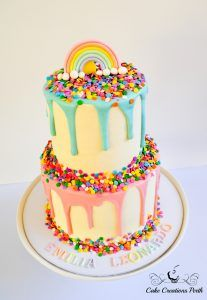 Rainbow & Sprinkles Drip Cake – Cake Creations Perth