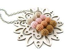 Pastel pendant crochet necklace crochet wooden beads simple geometric jewelry    Unique pastel pendant is made with crocheted wooden beads. It