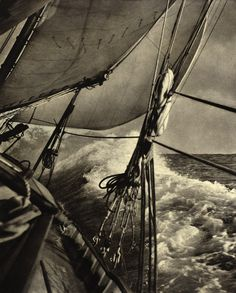 The best view from the help, under the jib to leward.  Bow Wave  photo by John Hogan, 1940