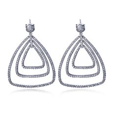 Big Drop Earrings for women Platinum plated with AAA CZ Romantic fashion wedding party jewelry luxury earring Free shipment