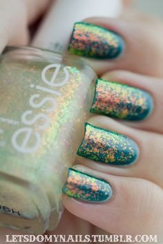"""letsdomynails: """" Top Coat: Seche Vite Color: Essie Shine of the Times over OPI Cuckoo for this Color Base: None """""""
