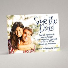 A big announcement like setting your wedding date deserves to be done in big style! These save the date magnets do the job perfectly with your photo as the background and a 'Save the Date' printed as shown. The design and your wording are printed in your choice of colors and lettering styles. White mailing envelopes are included with these save the date magnets.