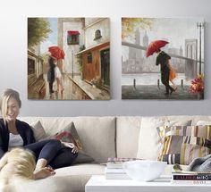wedding decoration New York couple kissing umbrella painting home decor wall art canvas prints bar cafe bedroom living room  #Affiliate