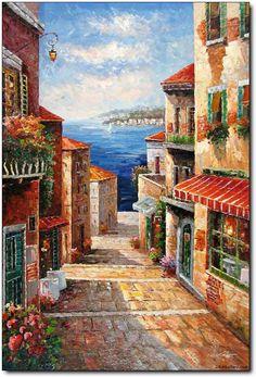Alley in Mediterranean Via Mediterranean Original Landscape Oil