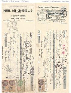 vintage French ephemera converted into a baguette wrapper Vintage Labels, Vintage Ephemera, Vintage Paper, Vintage Clocks, Antique Clocks, Vintage Stuff, Images Vintage, French Vintage, Image Deco