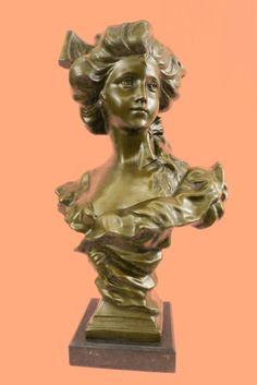~BIG Antique Victorian Bronze Nude Girl Woman Art Nouveau Bust Statue Sculpture~