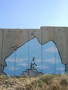 """The Bristol-born artist has adorned the West Bank barrier with six new images, including a dove wearing a flak jacket and a soldier being frisked by a young girl."" (2007)"