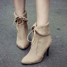 """Trendy Flock and Stiletto Heel Design Short Boots For Women. Colors: Apricot, Dark Red. Size: 37, 38, 39. SKU:… #Vivoren #Fashion"
