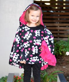 Look what I found on #zulily! Black & Hot Pink Skull Hooded Poncho - Infant, Toddler & Girls by Beary Basics #zulilyfinds