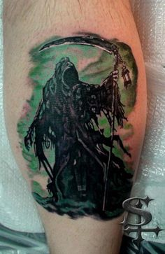 Tattoo by Stripe  https://www.facebook.com/ultimatearts  grim reaper tattoo, mint tattoo, black tattoo, black and gray, skull tattoo