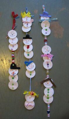 Sneeuwpopjes van wattenschijfjes gemaakt door mijn dochter en haar vriendinnen.