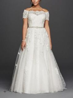 Breathtaking Lace Plus Size Wedding Bridal Dresses 2016 A Line Off The Shoulder Jewel Scalloped Sleeve Plus Size Wedding Dress Weding Dresses Aline Dresses From Noivadress, $140.71| Dhgate.Com