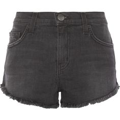 Current/Elliott The Gam stretch-denim shorts (19.590 RUB) ❤ liked on Polyvore featuring shorts, short, black, slim fit shorts, frayed shorts, stretch denim shorts, short shorts and current elliott shorts