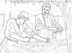 Young Christ Child and St. Joseph the Carpenter Catholic Coloring Page