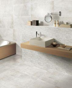 Porcelain Stoneware Tiles with Concrete Effect - Manhattan Ricchetti Bath And Beyond, Living Room Kitchen, Bathroom Inspiration, Double Vanity, Sink, Flooring, Home Decor, Manhattan, Toilets