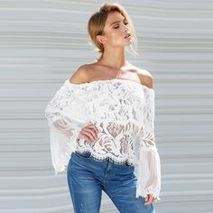 Off Shoulder Lace Blouse Women New Summer Folder Sheer Smocked Flare Sleeves See Through Tops Punk Ladies Crop Top Tunic Shirts -*- AliExpress Affiliate's buyable pin. Clicking on the image will lead you to find similar product on www.aliexpress.com
