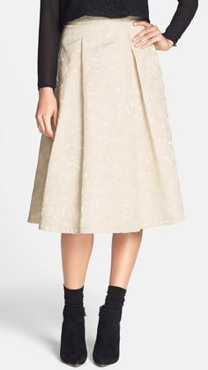 Love the color + texture! Cream Jacquard Midi Skirt