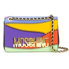 Moschino logo panelled crossbody bag (€1.770) ❤ liked on Polyvore featuring bags, handbags, shoulder bags, multicolour, crossbody purse, multi color purse, chain crossbody purse, moschino purse and crossbody shoulder bags